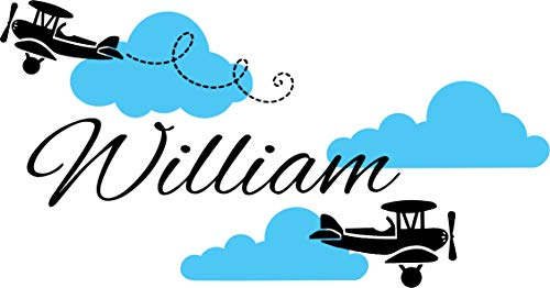 Airplane Wall Decal - Clouds Name Vinyl Sticker Personalized Custom Name Biplane Clouds Wall Decals Plane Kids Children Name Nursery Boys Room Decor by DecorimDecorWallDecal