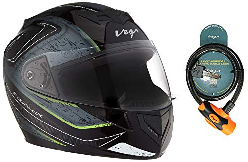 Vega Edge Dx Crystal Black Silver Helmet-M and Vega Safety Cable Lock...