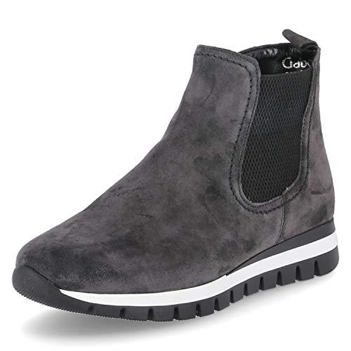 Gabor Damen Chelsea Boots, Frauen Stiefeletten,Wechselfußbett,Mehrweite, bootie schlupfstiefel flach,dark-grey (Micro),38 EU / 5 UK