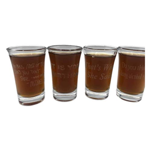 Birthday Set of BEST Quotes from The Office Inspired Laser Engraved Shot Glass Barware 21st Party Gift College Funny Michael Scott Dwight Schrute