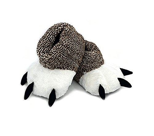 LANFIRE Unisex Weichem Plüsch Hause Hausschuhe Bärenkralle Hausschuhe Tier Kostüm Pfote Krallen Schuhe (38-39 EU, Brown)