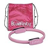 Bluefinity Unisex – Adulto Pilates Ejercicios de Pilates Doble Mango Acolchado Anillo de Resistencia Yoga de Fibra de Vidrio Anillo de Fitness Ø 37 cm Rosa 1 Pieza
