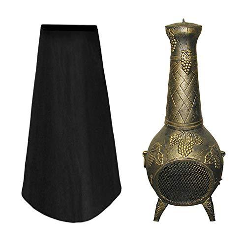 Keyohome Schwarze Abdeckung für Terrassenofen, Gartenofen, Gartenkamin, Wasserdicht, 600D PVC schwarz 39 * 62 * 120cm