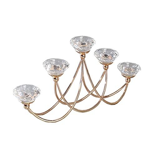 Candeleros decorativos de velas Cristal de hierro fundido moderno Luz de lujo Mesa de comedor Vela Titular de la vela Decoración Vela Romántica Luz Cena Lámpara Props Soporte Candeleros cristal