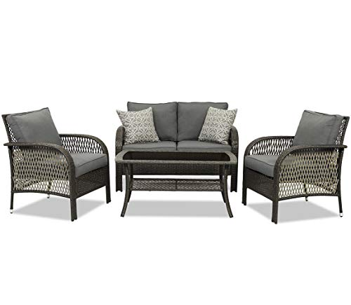 Wisteria Lane Patio Conversation Sets, Outdoor Wicker Furniture Set, 4 Pieces All Weather Contemporary Rattan Sofa with Coffee Table and Thick Grey Cushions