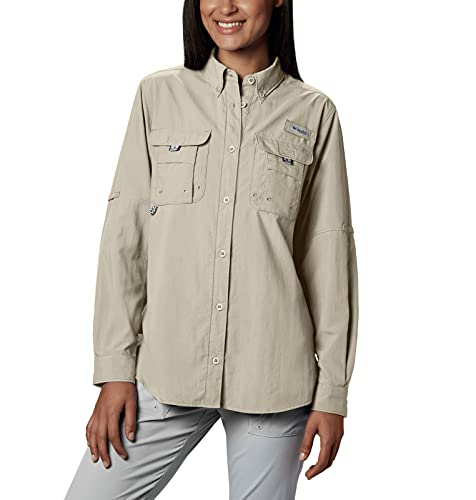 Columbia Women's PFG Bahama II Long Sleeve Shirt, Breathable, UV Protection, Fossil, Medium