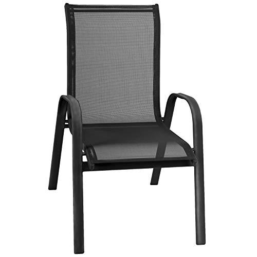 FineHome XL Gartenstuhl Stapelsessel Gartensessel Textilenbespannung schwarz Gartenmöbel stapelbar Aluminium-Metall Mix schwarz