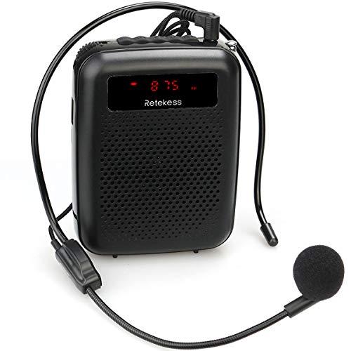 Retekess PR16R Spraakversterker Draagbare Voice Versterker Mini Luidspreker met FM-radio Opnamefunctie MP3-speler (zwart)
