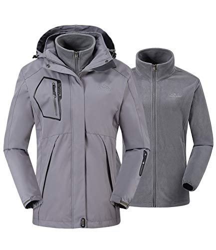donhobo Damen Jacken 3-in-1 Fleece Gefüttert Winterjacke Winddicht Warm Verdickte Softshelljacke Wasserdicht Outdoor Wanderjacke Funktionsjacke Grau M