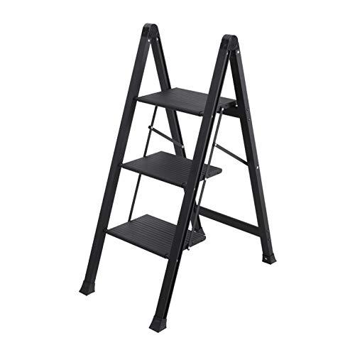 Pequeña Escalera Multiusos Tabureta Plegable de Aluminio de 3 Pasos, Ahorro de Espacio, taburetes Plegables y Antideslizantes, Peso Muerto de 150 kg, para el hogar y la Cocina (Color : Black)