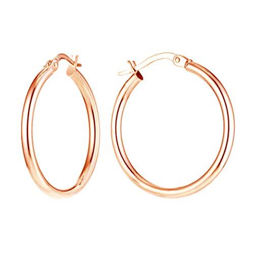 LeCalla Sterling Silber Schmuck 35 MM Rose Gold überzogen italienische Band-Ohrringe für Frauen