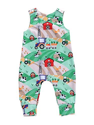 Neugeborenes Kind Baby Boy Mädchen drucken ärmellosen Strampler Tierdruck Knopf Verschluss Overalls Sommerkleidung (Himmelblauer Traktor, 0-6 Monate)