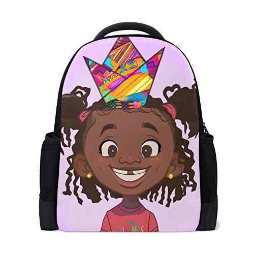 Cartoon Schultasche für Mädchen Junge Nette amerikanische Kunst Schwarze Mädchen Rucksack Kinder Schultaschen Schüler Klasse 1-5,G