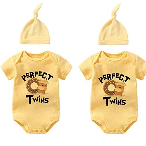 Culbutomind Baby Twins Body Caffè Ciambelle Neonato Neonato Del Bambino Body Pagliaccetto Vestiti Del Bambino Set di ciambella giallo S0 per caffè 2 mesi