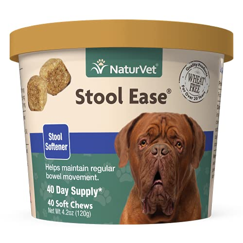 NaturVet – Stool Ease for Dogs – 40 Soft Chews – Helps Maintain Regular Bowel Movements – Enhanced with Sugar Beet Pulp  Flaxseed & Psyllium Husk – 40 Day Supply
