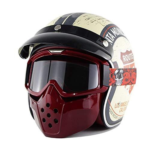 RMBDD Casco Moto Medio Cascos Scooter Locomotora Motocicleta de Cara Abierta con Gafas y Máscara Antipolvo Antipolvo Aprobado Dot/Estilo Vintage para Unisex(S-XXL, 55-63cm)