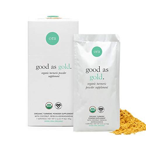 Ora Organic Golden Milk Powder - Ayurvedic Turmeric Latte with Organic Adaptogens - Ashwagandha, Reishi and Ginger - Organic, Gluten-Free, Soy-Free, Vegan, Non-GMO - 7 Servings (1 Week Supply)