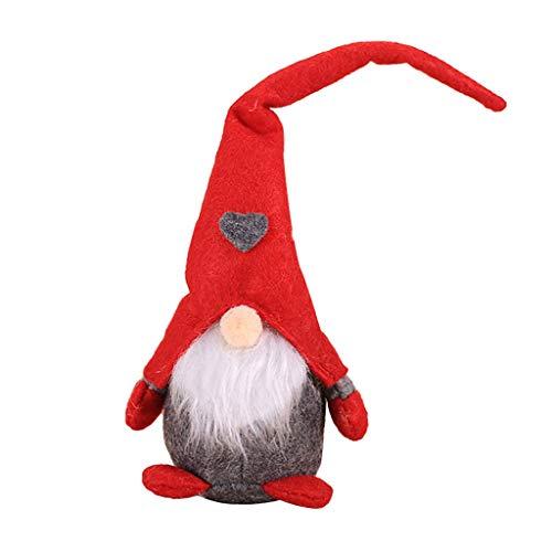 Luccase Weihnachts Plüsch Puppe Dekoration Kreative Wald Wichtel Santa Dolls Süße Weihnachtsbaum Anhänger Dwarf Handgemachte Geschenke für Kinder (C)