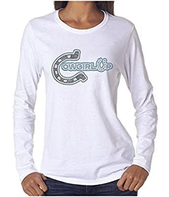 Wild Woman Tees Cowgirl up Horseshoe Women's Rhinestone Long Sleeve Shirts, Small, White