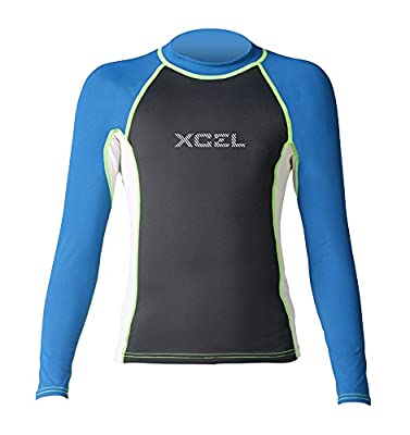 XCEL Boys Kaisers UV Long Sleeve Wetsuit, Black/Ice Grey/Nautical, Size 8