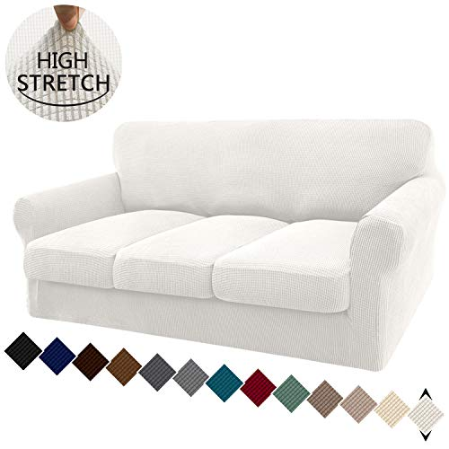 Granbest 4 Piece High Stretch Couch Covers for 3 Cushion Couch Super Soft Fitted Sofa Slipcover Non-Slip Sofa Cover Furniture Protector with Individual Cushion Covers (Large, Creamy White)