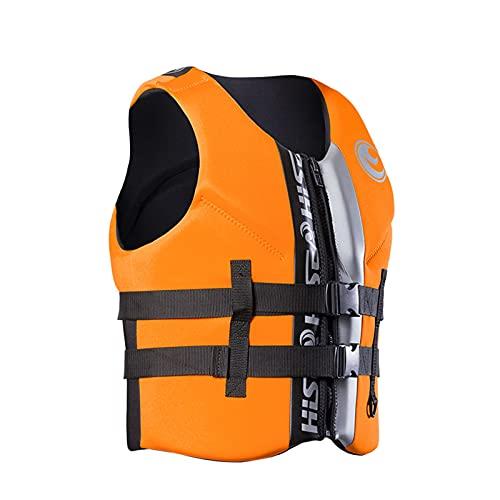 Chaleco Salvavidas de NatacióN Chaqueta Life Jacket para Adulto con Agujeros HidrofóBicos Neopreno con Cremallera y Hebilla para Surfear,XL