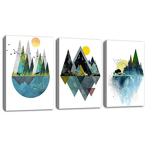 Wall Art for Living Room Sunset Canvas Prints Picture Bathroom Wall Decor Abstract Geometric Mountains Artwork Landscape Canvas Painting Deer Murals for Walls Bedroom Office 12'x16'x3 Panels