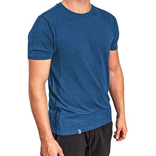 Alpin Loacker Bio Premium Merino T-Shirt Herren Kurzarm (blau, L)