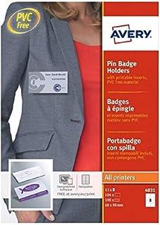 AVERY - Boite de 100 porte-badges à épingle en plastique souple transparent, 104 inserts imprimables fournis, Format 90 x ...