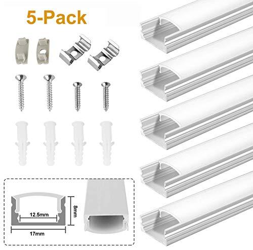 Kefflum 5 Meter LED Profil (5 * 1Meter) LED Aluminium Profil U-form für Strip Lights Breite Schneidbar Mit Endkappe Befestigungsclip Geeignet für LED-Strips/Band bis 12.5mm 5 pcs Set