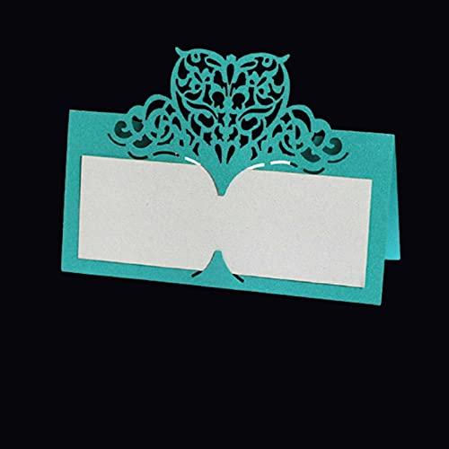 Tarjetas de Felicitación Amor corazón corte tableta nombre lugar lugar tarjetas de encaje nombre mensaje configuración de la tarjeta de cumpleaños de la boda fiesta decoración 50 / 100pcs birthday car