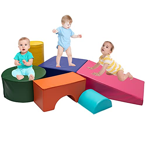 Go Beyond Softscape Crawl and Climb Foam Play Set, Lightweight Blocks Corner Climber, Nugget Couch for Toddlers, Children's Composite Toy for Crawling Climbing and Sliding (Colourful)