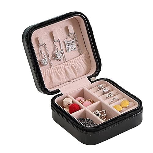 FACHA Caja de almacenamiento de joyería unisex para viajes, portátil, caja de joyería de cuero para almacenamiento de pendientes (color: negro, tamaño: 10 x 10 x 5 cm)