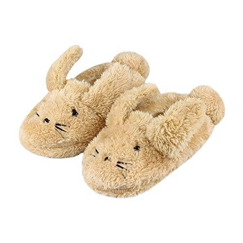 LACOFIA Kleinkind Mädchen rutschfest Gummisohle Schuhe Kinder Winter Warme Plüsch Kaninchen Hausschuhe Khaki 22/23 EU