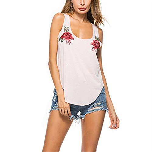 Camiseta Sin Mangas Mujer Verano Cuello Redondo Flores De Cuello Bajo Dobladillo Simétrico Mujeres Chalecos Sueltos Transpirable Exquisito Diseño Elasticidad Suave Mujeres Tops D-Pink XXL
