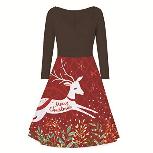 beetleNew Womens Dress Robe de Noël pour Femme - Imprimé élan - Robe évasée - Manches Longues - Taille Haute - Fermeture éclair - Col en V - Slim - Cocktail - Grenouille - Soirée de Noël - Noir - XL