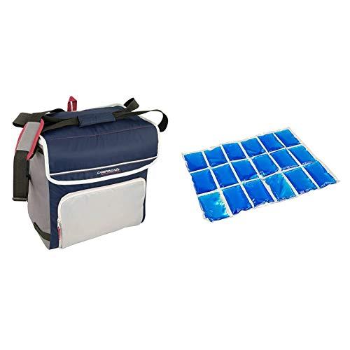Campingaz Kühltasche Fold N Cool Nevera Flexible, 20 l, Unisex, Azul Marino/Gris + Flexi Freez Acumulador Frio, Pack Mediano, Unisex, Azul, Medium