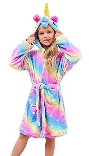 Ksnnrsng Kinder Sanft Einhorn Mit Kapuze Bademantel Nachtwäsche - Einhorn-Geschenke für Mädchen (Regenbogen Stern, 10-11 Jahre)