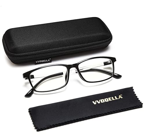 VVDQELLA Gafas Presbicia Hombre/Mujere Montura en TR90 Lentes Premium y Rectangular Anti Luz Azul Contra UV Gafas Lectura 0.0 para PC, Smartphone, TV, Ligeras y Durable
