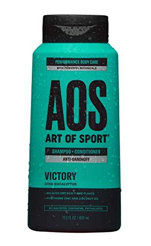Art of Sport Anti Dandruff Shampoo and Conditioner for Men, Victory Scent, Dry Scalp Shampoo and Dandruff Treatment with Zinc Pyrithione, Coconut Oil and Aloe Vera, Sulfate Free, 13.5 fl oz