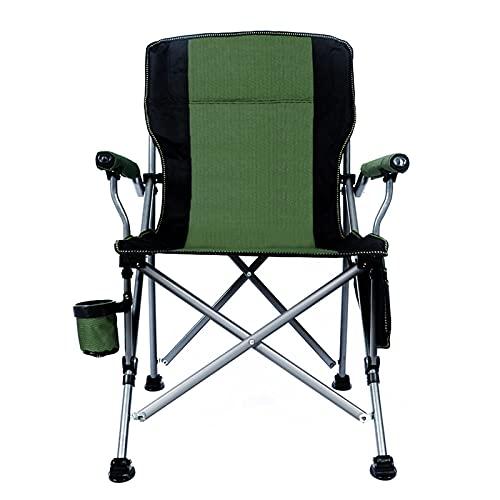 Silla de Camping Plegable,Silla de Acampada Plegable Acolchada Respaldo Alto con Portavasos Bolsa Lateral Soporta 350 Libras(Verde)