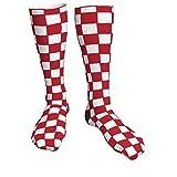 Jack16 Kniestrümpfe mit kroatischen National-Karos, kleine rote & weiße Quadrate, Unisex, lange Socken, hohe Stiefel, Oberschenkelhohe Strümpfe, Beinstulpen, Sportstrumpf