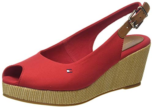 Tommy Hilfiger Damen Iconic ELBA Sling Back Wedge Peeptoe Sandalen, Rot (Primary Red XLG), 39 EU