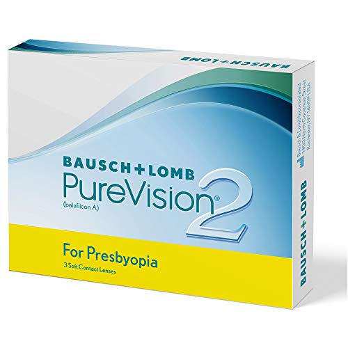 Bausch und Lomb PureVision 2 for Presbyopia Monatslinsen, sehr dünne Gleitsicht-Kontaktlinsen, weich, 3 Stück BC 8.6 mm / DIA 14 / -3.5 Dioptrien / ADD Low