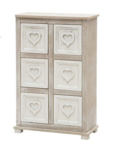 Commode meuble 6 tiroirs cœur ameublement maison en bois shabby chic