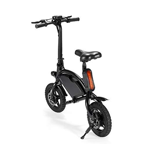 Bright love Plegable eléctrico Bicicleta batería de Litio Booster Mini Coche eléctrico Adulto Macho y Hembra pequeño vehículo eléctrico (Blanco y Negro Dos Colores Opcionales),Black