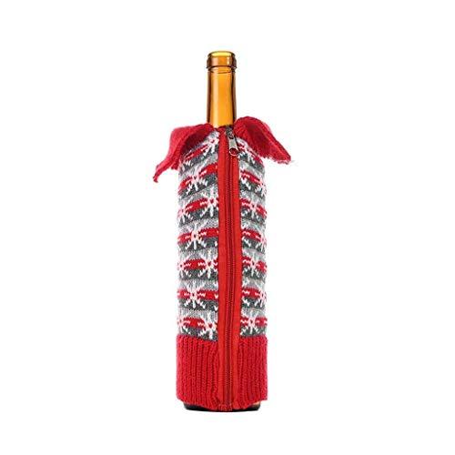 WYLJD Decoración Navideña Cubierta de Bolsa de Botella de Vino con Cremallera de Punto Feliz Navidad Santa Copo de Nieve Patrón Fiesta de Navidad Decoración de Mesa Regalo