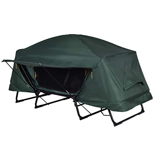 GYMAX Tent Cot, 1 Person Foldable Camping Waterproof Shelter with Window Carry Bag