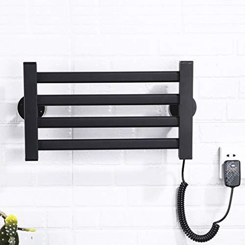 Handdoekwarmer elektrische handdoekhouder voor wandmontage, intelligente constante temperatuur, 50 W, 47 x 26,5 cm, zwart, wasrek, aluminiumlegering, geschikt voor badkamer, modern design