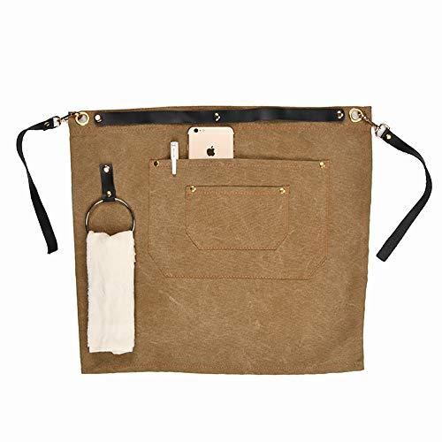 Tuyu, robuste Werkzeugschürze, gewachstes Leinen, halbe Taille, Schürze mit 2 Taschen, verstellbare Lederschürze für Männer und Frauen, TYDWQ92